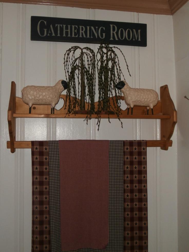 Primitive decor i like the gathering room sign