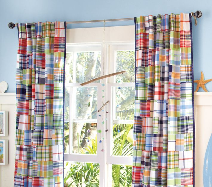 Madras Curtains on Light Blue Paint  Cute for a kid's room.