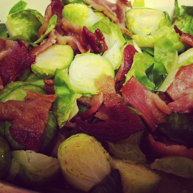 My roasted brussel sprouts, with crispy bacon, garlic & olive oil.