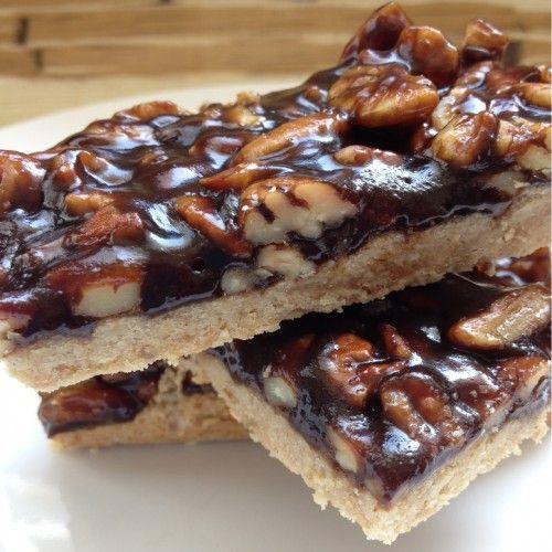 GF vegan sticky pecan bourbon bars. | Sweet Tooth | Pinterest