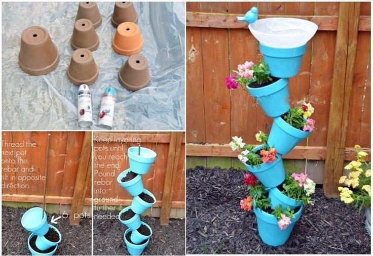 Flower pot stack   craft   Pinterest