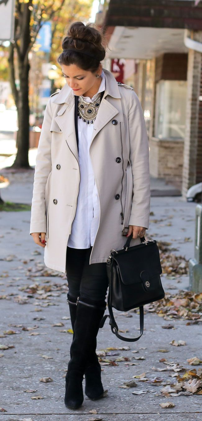 trench coat, accessories and boots