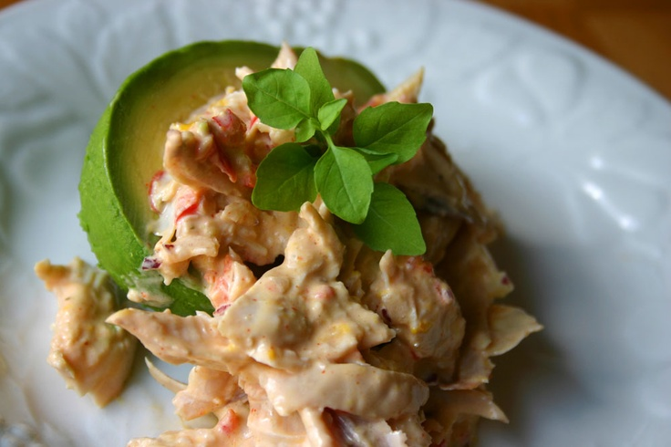 Chicken Salad with Southwestern Aioli in an Avocado. Serve hot with ...