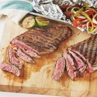 Flank Steak Tacos with Balsamic Glazed Peppers and Onions
