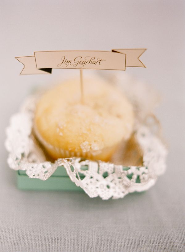 Place cards with doilies in a box ~ love!