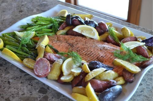 Oven-Roasted Salmon, Asparagus and New Potatoes.