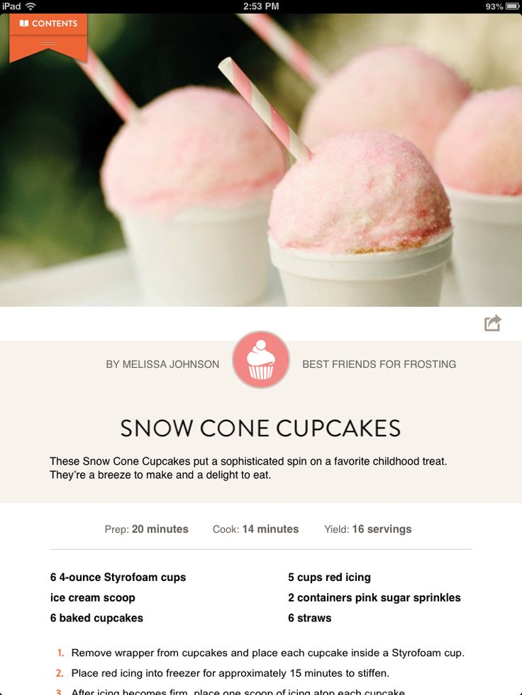 Sneak peak from our recipe app edition- Snow Cone Cupcakes! Download ...