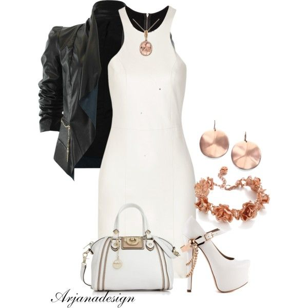 Michelle Mason Leather and stretch-knit mini dress, created by arjanadesign on Polyvore