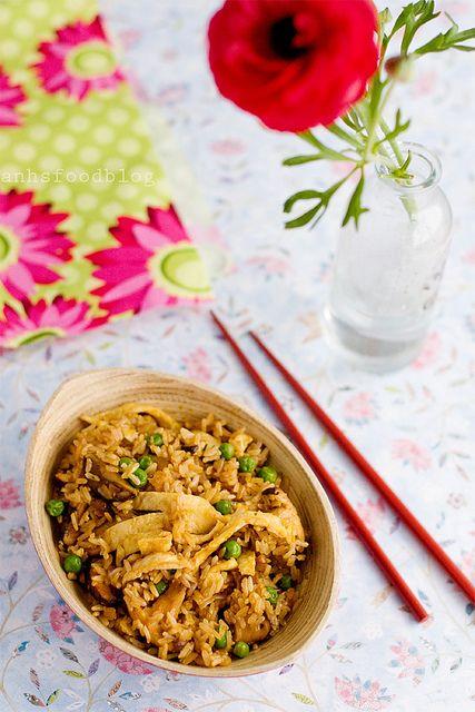 fried brown rice with shiitake mushrooms and peas