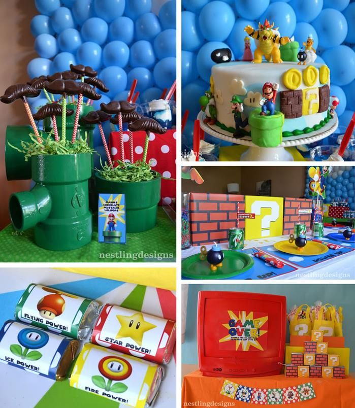 Super mario brothers birthday party mario planning for Mario decorations