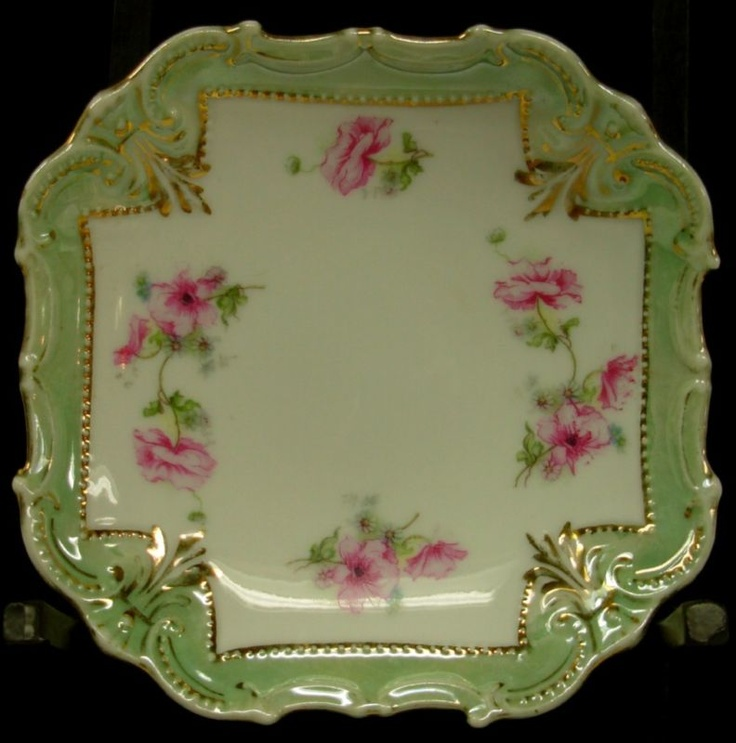 Victorian Lustre Pink Roses China Porcelain Plate Dish