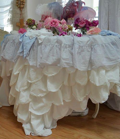 Shabby chic decor ruffled tablecloth i love shabby chic