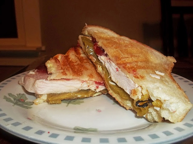 Turkey, green chilies, and cranberry sauce. Sounds awesome.
