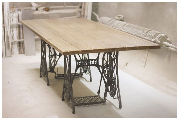 table made from singer sewing machine home pinterest. Black Bedroom Furniture Sets. Home Design Ideas