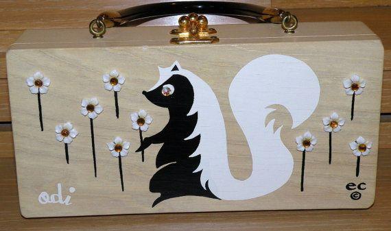 Enid Collins Odi the Skunk Wooden Box Purse