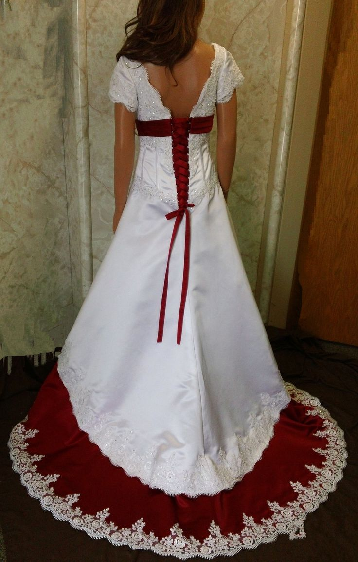 red trim wedding dresses 28
