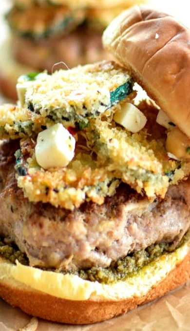 Turkey Burgers with Fried Zucchini | Recipe