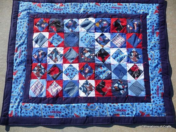 Quilt - Flannel Baby Quilts / Lap Blanket- Ice Hockey - Hand Made