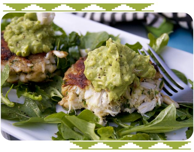 Crab Cakes with Wasabi Guacamole. I want this for dinner tonight!