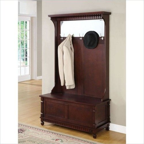 Entryway hall tree coat rack with storage bench in merlot finish Storage bench with coat rack