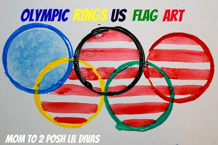 Olympic Rings US Flag Canvas Art from Mom to 2 Posh Lil Divas