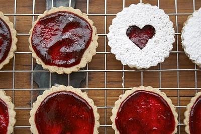 Pecan Linzer Heart Cookies with Black Cherry Filling