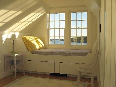 built-in window bed, interesting slant on each end.