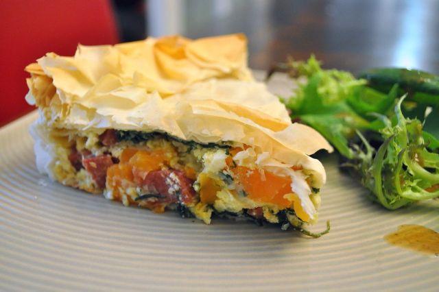 Sweet Potato, Chorizo & Spinach Filo Pie | Thermomix goodies | Pinter ...
