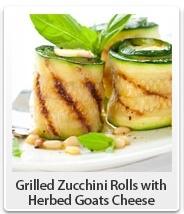 Grilled Zucchini Rolls with Herbed Goats Cheese --> http://miriamj.com ...