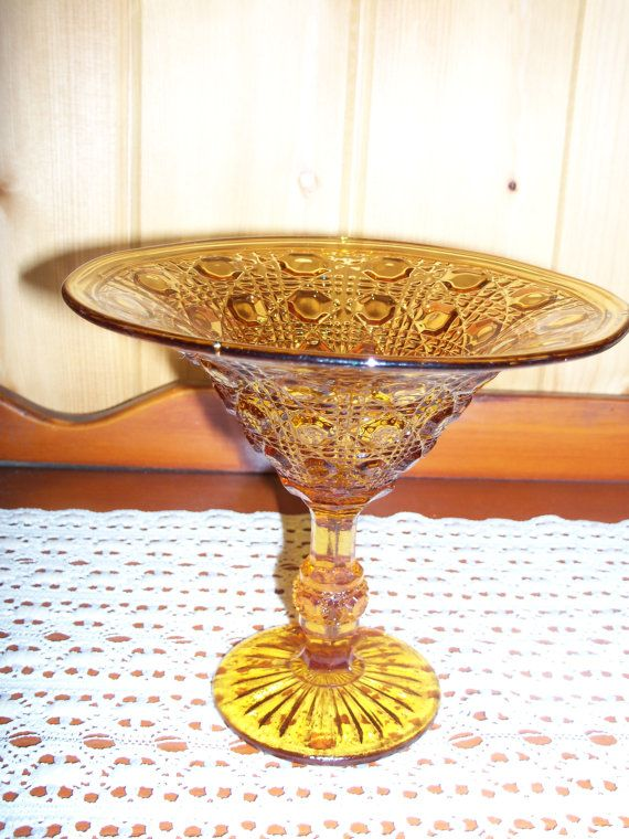 Indiana button amp cane candy dish amber color on etsy 7 00 for