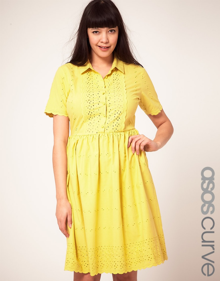 ASOS CURVE Shirt Dress In Cotton Embroidery