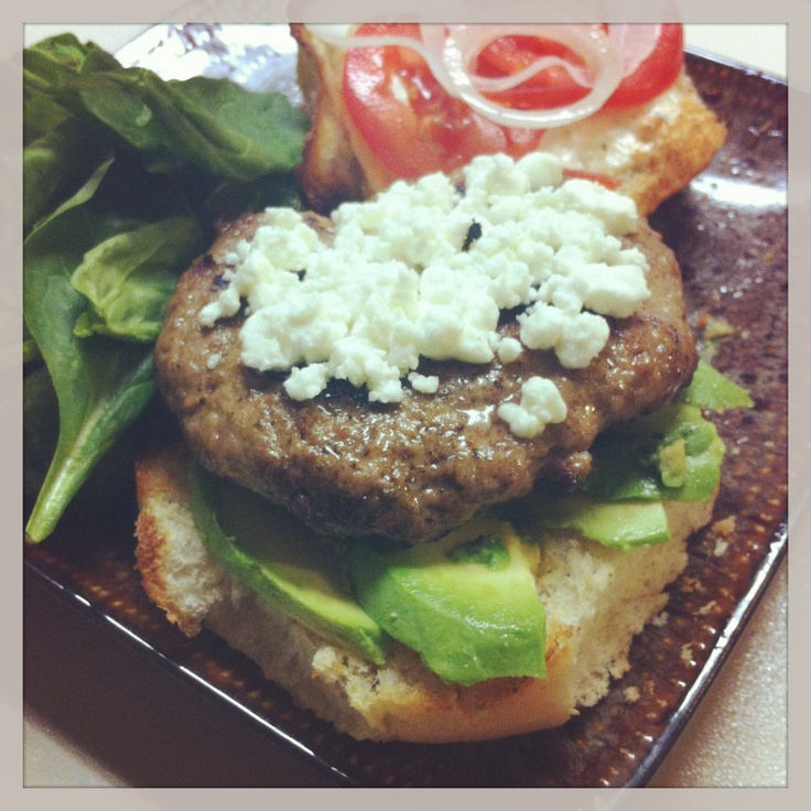 Dinner tonight! Turkey burgers with avocado, spinach, and goat cheese ...