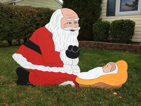 Santa claus kneeling over baby jesus handmade wooden for Baby jesus lawn decoration