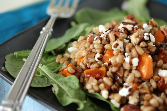 Warm Farro Salad with Roasted Butternut Squash | via Jen Vagios, MS ...