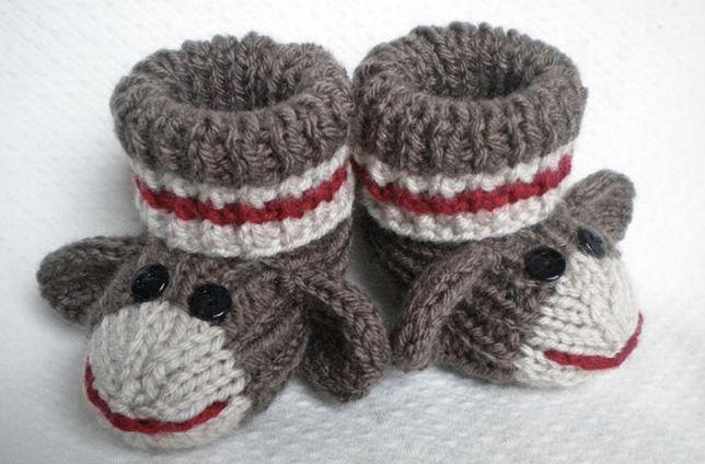 Knitted sock monkey slippers