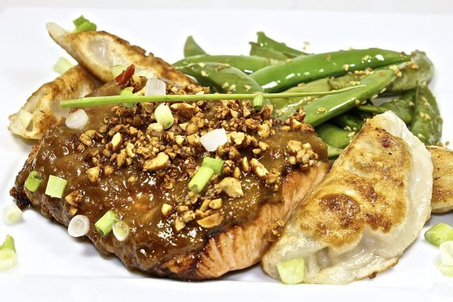 Salmon With Crunchy Peanut Ginger Sauce. The sauce was excellent, and ...