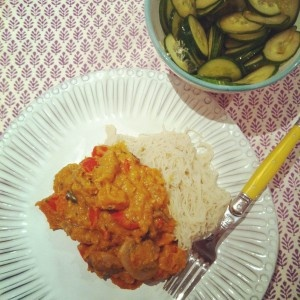 Pumpkin Curry with Brown Rice Vermicelli Noodles and Cucumber Salad