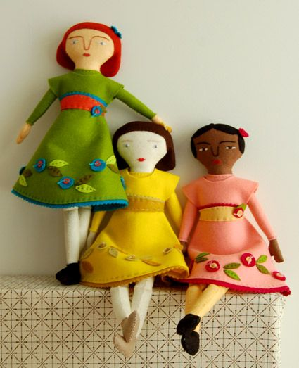 LOVE this felt doll pattern. Nice and free, too! Mimi Kirchner's Hand Sewn FeltDoll - The Purl Bee - Knitting Crochet Sewing Embroidery Crafts Patterns and Ideas!