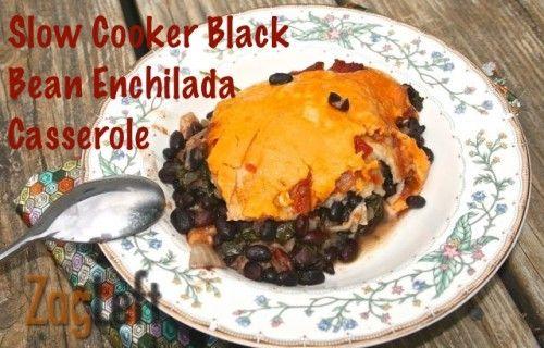 Delicious Slow Cooker Black Bean Enchilada Casserole from ZagLeft