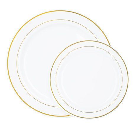 white gold plastic dinnerware value set
