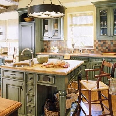 Green country kitchen stuff pinterest for French country green kitchen