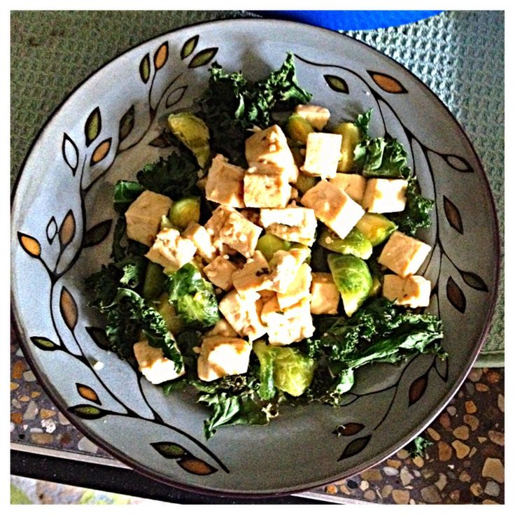 Caramelized Tofu w/ Kale and Brussel Sprouts