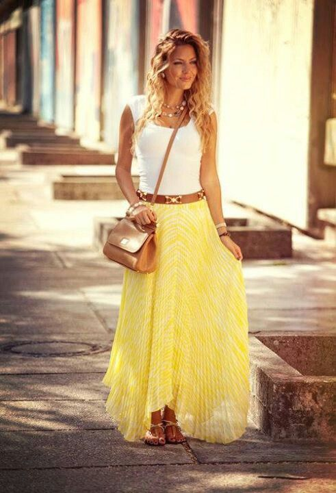 Yellow maxi skirt my style pinterest