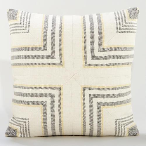 Gray/Yellow Herringbone Throw Pillow
