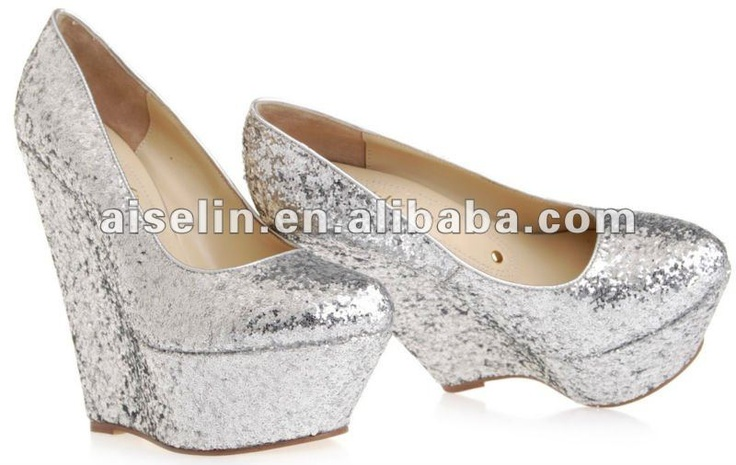 Silver Wedge Shoes Bridal Wedges Glitter