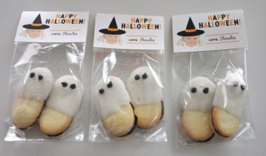 Pepperidge Farms Milano cookies take a dip in white chocolate to become Ghostly. I've done this with Nutter Butters too!
