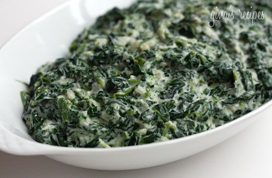 Creamed Spinach - Lightened Up - A creamy blend of spinach, shallots, parmesan cheese, and Boursin Light makes a rich and flavorful side dish.