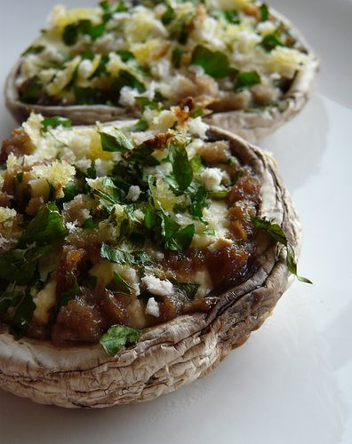 crowdie stuffed mushrooms; sub boursin cheese for crowdie.