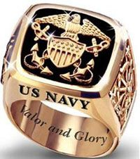 US Navy Mens Silver Ring by The Bradford Exchange
