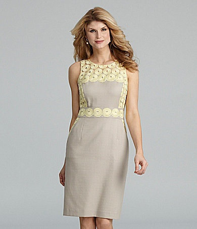 Antonio melani bristall lace trim sheath dress